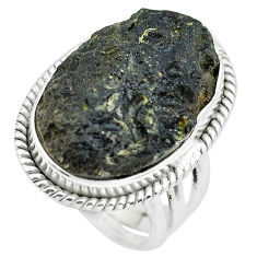 16.70cts natural black tektite 925 silver solitaire ring jewelry size 5.5 p61450