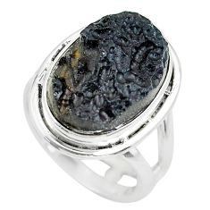 10.81cts natural black tektite 925 silver solitaire ring jewelry size 6 p61451