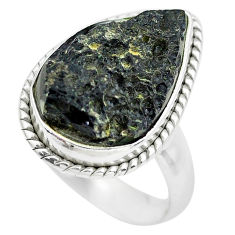 11.08cts natural black tektite 925 silver solitaire ring jewelry size 7.5 p61452
