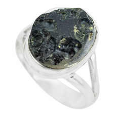 10.41cts natural black tektite 925 silver solitaire ring jewelry size 9 p61454