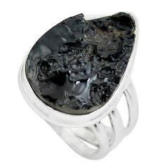 15.39cts natural black tektite 925 silver solitaire ring jewelry size 7 p61457