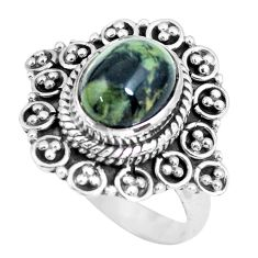 4.53cts natural black toad eye 925 silver solitaire ring jewelry size 7 p63175