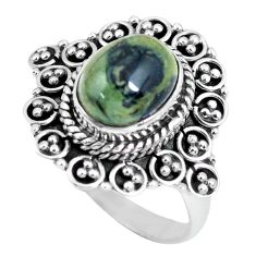 4.38cts natural black toad eye 925 silver solitaire ring jewelry size 8.5 p63176