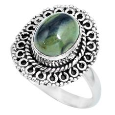 4.25cts natural black toad eye 925 silver solitaire ring jewelry size 9 p63179