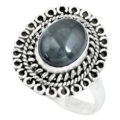 4.52cts natural black toad eye 925 silver solitaire ring jewelry size 8.5 p63370