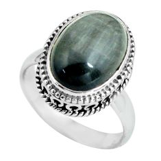6.62cts natural black toad eye 925 silver solitaire ring jewelry size 7 p67616
