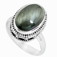 6.48cts natural black toad eye 925 silver solitaire ring jewelry size 8 p67639