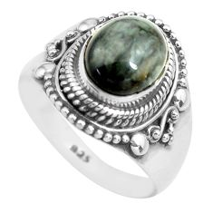4.21cts natural black toad eye 925 silver solitaire ring jewelry size 7.5 p71752