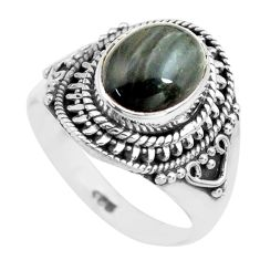 4.22cts natural black toad eye 925 silver solitaire ring jewelry size 7 p71755