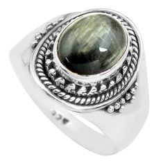 4.22cts natural black toad eye 925 silver solitaire ring jewelry size 8.5 p71760