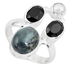 8.83cts natural black toad eye onyx 925 sterling silver ring size 7 p52713