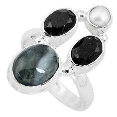 8.14cts natural black toad eye onyx 925 sterling silver ring size 7 p52716