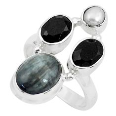 7.84cts natural black toad eye onyx 925 sterling silver ring size 6 p52719