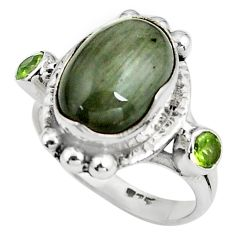 8.27cts natural black toad eye peridot 925 silver ring jewelry size 7 p79001
