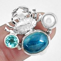 6.76cts natural blue apatite (madagascar) 925 silver crab ring size 7 p42702