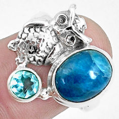 5.11cts natural blue apatite (madagascar) 925 silver owl ring size 7.5 p42716