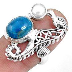 6.02cts natural blue apatite (madagascar) 925 silver seahorse ring size 7 p42717