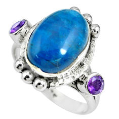 8.07cts natural blue apatite (madagascar) amethyst 925 silver ring size 8 p69917