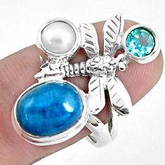 6.57cts natural blue apatite (madagascar) silver dragonfly ring size 8 p42715