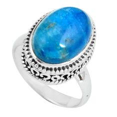 6.89cts natural blue apatite (madagascar) silver solitaire ring size 6.5 p67605
