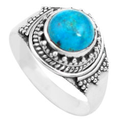 3.19cts natural blue apatite (madagascar) silver solitaire ring size 8.5 p71617