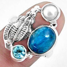 6.35cts natural blue apatite (madagascar) topaz 925 silver ring size 8.5 p42705