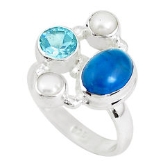 7.07cts natural blue apatite (madagascar) topaz 925 silver ring size 7.5 p52724