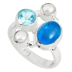 6.48cts natural blue apatite (madagascar) topaz 925 silver ring size 8 p52726