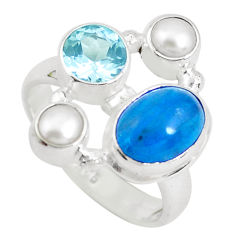 6.48cts natural blue apatite (madagascar) topaz 925 silver ring size 7.5 p52727