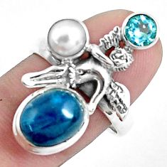 6.76cts natural blue apatite 925 silver angel wings fairy ring size 8.5 p42720