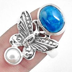 5.97cts natural blue apatite 925 silver butterfly ring size 8.5 p42707