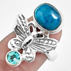 5.75cts natural blue apatite 925 silver butterfly ring size 7.5 p42710