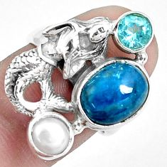 6.53cts natural blue apatite 925 silver fairy mermaid ring size 7 p42709