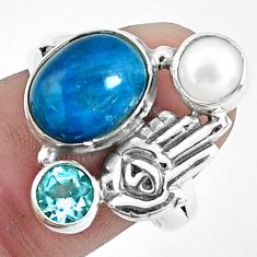 6.32cts natural blue apatite 925 silver hand of god hamsa ring size 8 p42712