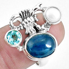 6.54cts natural blue apatite 925 silver scorpion charm ring size 7 p42703