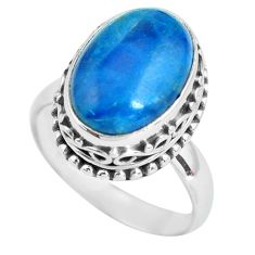 6.89cts natural blue apatite 925 silver solitaire ring jewelry size 7.5 p67609