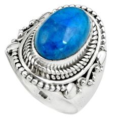 4.54cts natural blue apatite 925 silver solitaire ring jewelry size 6.5 p80957