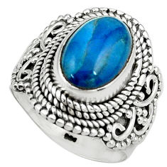 4.38cts natural blue apatite 925 silver solitaire ring jewelry size 6.5 p80959