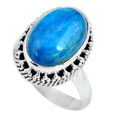 6.80cts natural blue apatite 925 sterling silver solitaire ring size 7 p67610