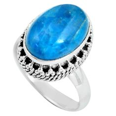 6.96cts natural blue apatite 925 sterling silver solitaire ring size 8 p67611