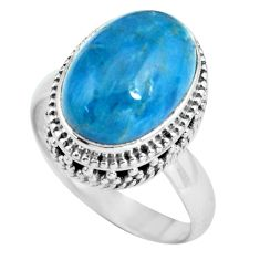 6.76cts natural blue apatite 925 sterling silver solitaire ring size 8 p67612
