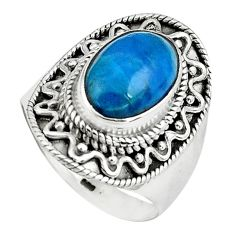 4.54cts natural blue apatite 925 sterling silver solitaire ring size 8 p80953