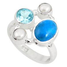 6.58cts natural blue apatite white pearl topaz 925 silver ring size 6.5 p52723