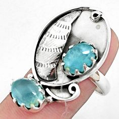 6.32cts natural blue aquamarine 925 silver ring jewelry size 8 p42385