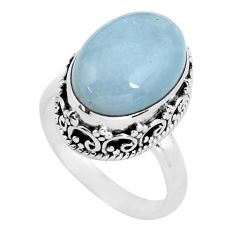 6.76cts natural blue aquamarine 925 silver solitaire ring jewelry size 7 p56582