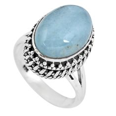 7.09cts natural blue aquamarine 925 silver solitaire ring jewelry size 7 p56583