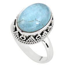 6.96cts natural blue aquamarine 925 silver solitaire ring jewelry size 8 p56757