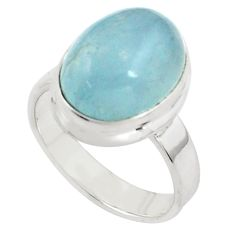7.76cts natural blue aquamarine 925 silver solitaire ring jewelry size 8 p77794