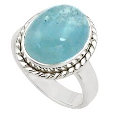 8.24cts natural blue aquamarine 925 silver solitaire ring jewelry size 8 p77796