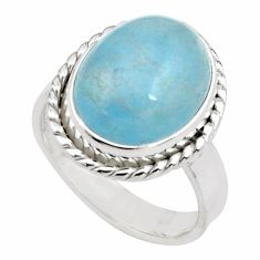 8.93cts natural blue aquamarine 925 silver solitaire ring jewelry size 8 p77797
